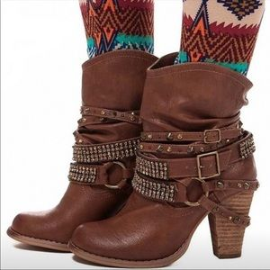 BRAND NEW Metal & Rhinestone Accents BOOTIES Boots